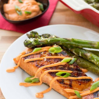Grilled Teriyaki Salmon with a Sriracha Sauce Recipe