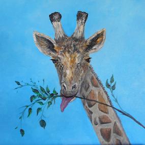 VEGAN by Rhonda Lee - Painting All Painting ( face, unique, sky, zoo, blue, giraffe, art, rokinronda, africa, exotic, painting, animal,  )