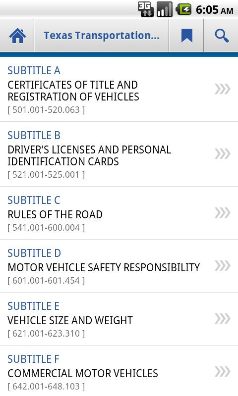 Texas Transportation Code- screenshot