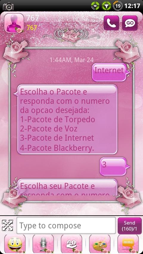 Pink Roses GO SMS Theme- screenshot