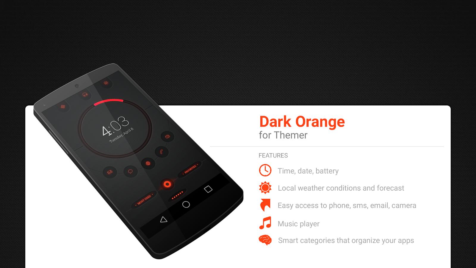 Gmail theme on android - Dark Orange Theme Screenshot