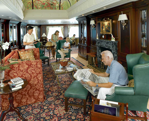 Oceania-Library-1 - During your cruise on Oceania Regatta, kick back and catch up on your reading in the ship's Library.