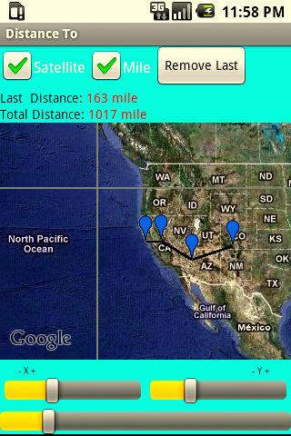 Calculate distance on map - screenshot