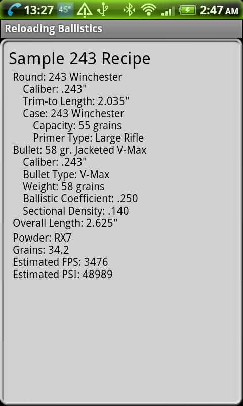 243 Winchester Ballistics Data - screenshot