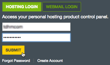 Login credentials Submit button