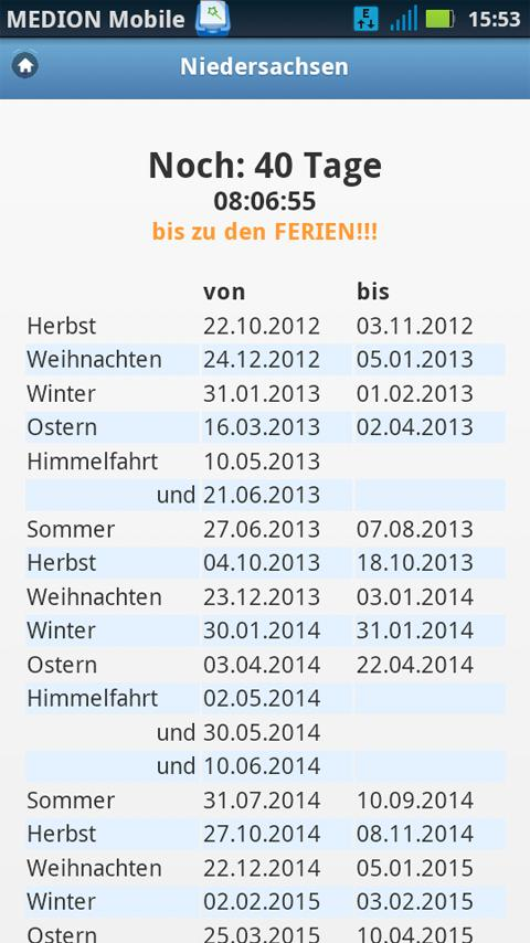Ferienkalender Countdown - screenshot