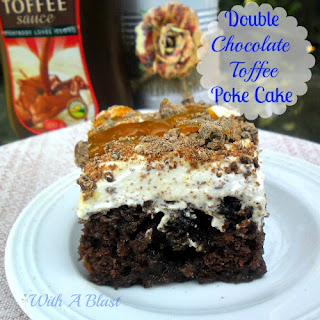 DOUBLE CHOCOLATE TOFFEE POKE CAKE.