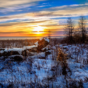 Feel the Glow by Donna Brittain - Landscapes Sunsets & Sunrises ( lake ontario, winter, canada, cold, sunset, snow, whitby, glow, golden hour, sunrise,  )
