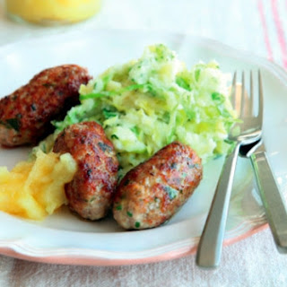 Homemade Pork Sausages With Colcannon And Applesauce.