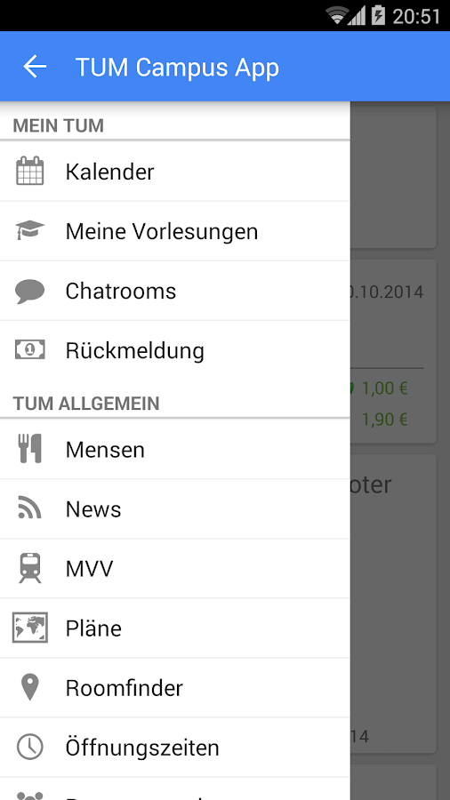 TUM Campus App - screenshot