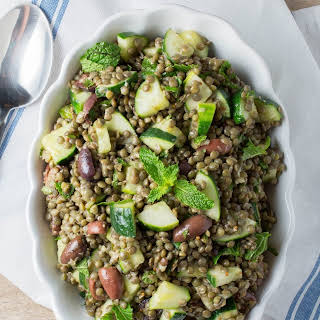 Cold Lentil Salad with Cucumbers and Olives.