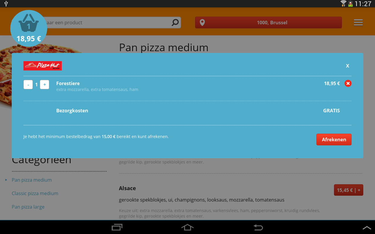 Pizza.be - screenshot