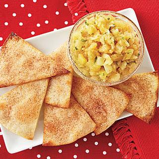 Cinnamon-Sugar Tortilla Crisps with Pineapple Salsa.