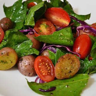 Potato, Cherry Tomato, and Spinach Salad.
