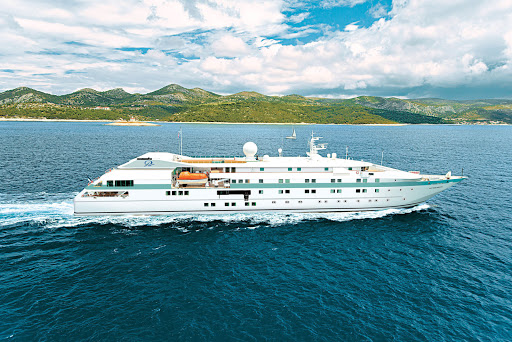 Tere-Moana-Hvar-Croatia-2 - Isn't she pretty? The yachtlike Tere Moana sails through the waters of Hvar in the Dalmation Islands of Croatia.