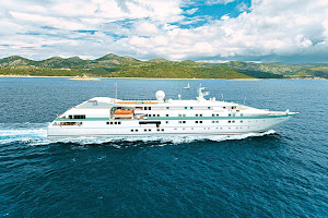 Isn't she pretty? The yachtlike Tere Moana sails through the waters of Hvar in the Dalmation Islands of Croatia.