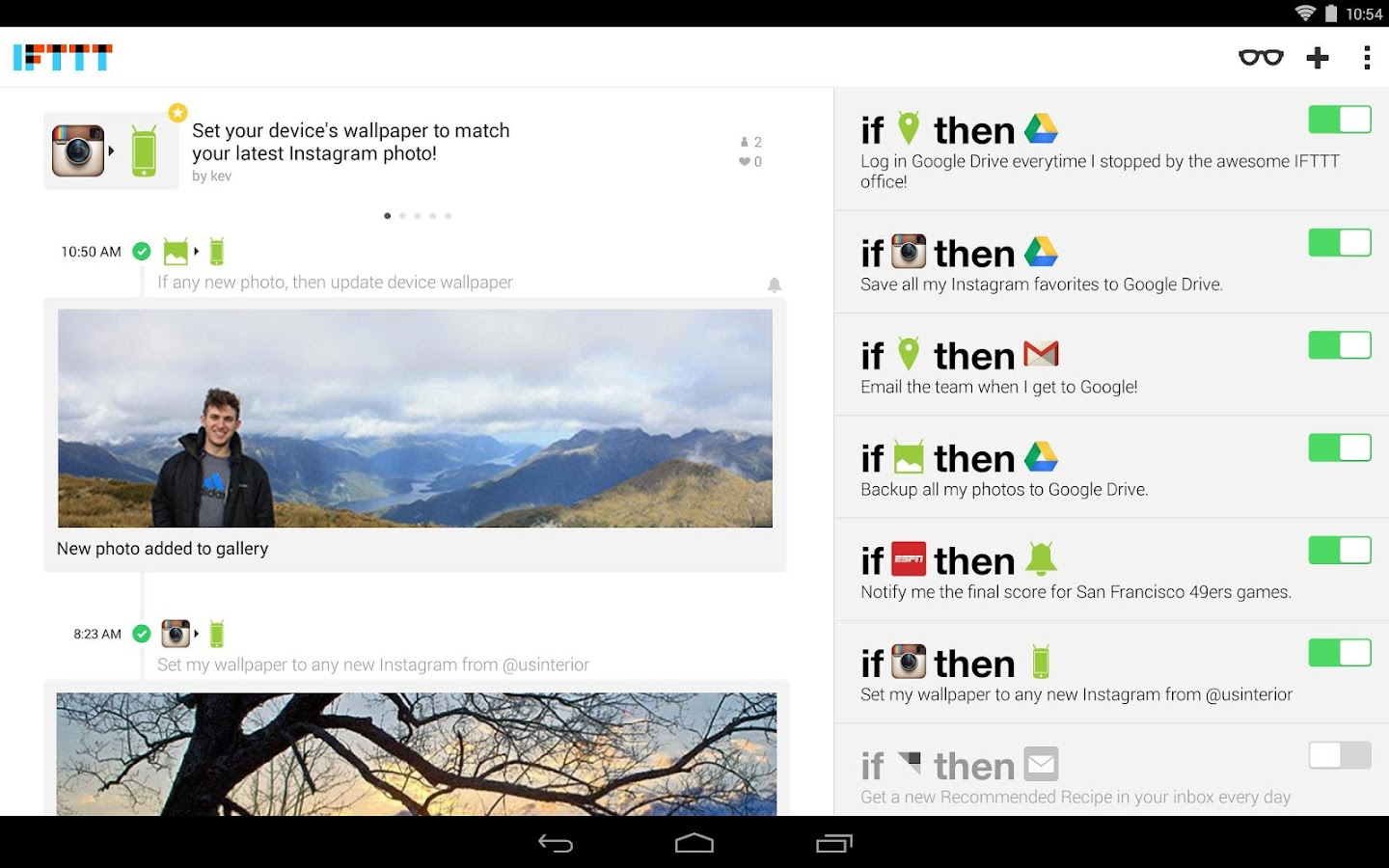 IFTTT - screenshot
