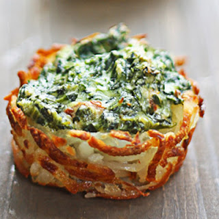 Spinach and Goat Cheese Hash Brown Nests.