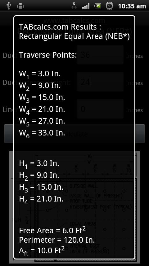 Rectangular Duct Traverse Tool- screenshot