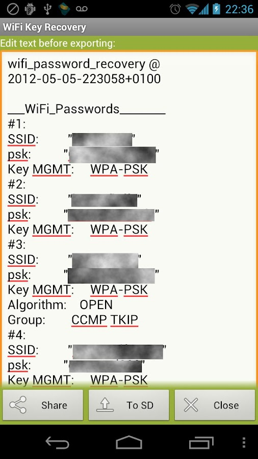 WiFi Key Recovery (needs root)- screenshot