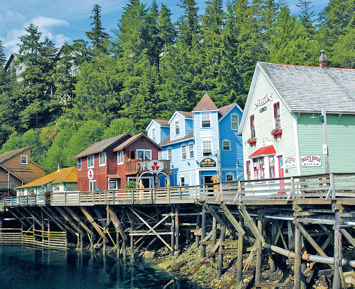 Creek-Street-Ketchikan-Alaska - On your Princess Cruises visit to Ketchikan, Alaska, be sure to check out Creek Street and the antique boardwalk on wooden pilings over Ketchikan Creek, home to restaurants, curio shops and, on some days, great salmon viewing.