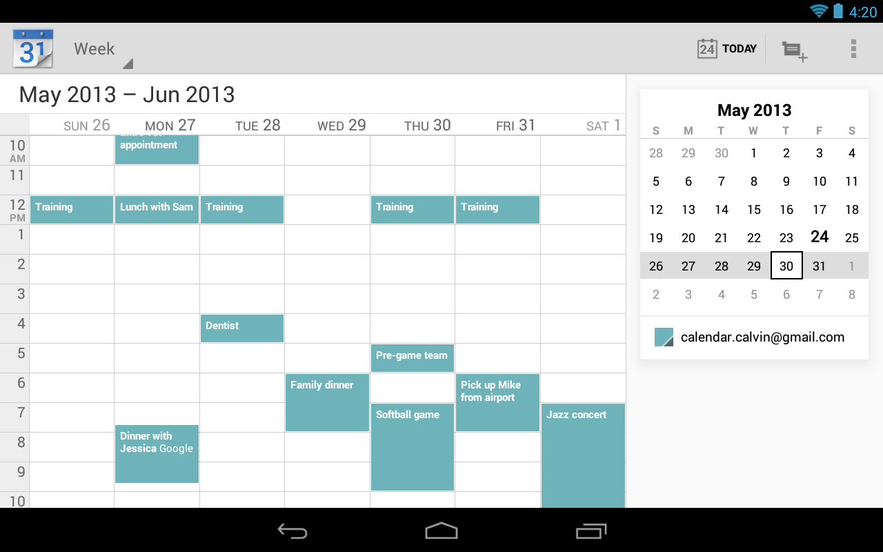 Google Agenda - screenshot