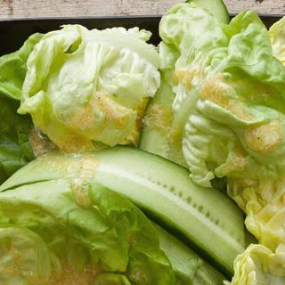 Cucumber and Bibb Lettuce Salad with Creamy Horseradish Vinaigrette.