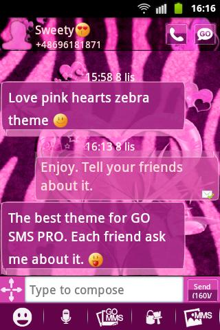 GO SMS Pink Theme Heart Zebra - screenshot