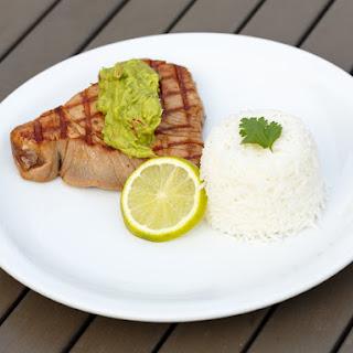 Tuna Steak with Avocado-Wasabi Purée.