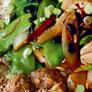 Chicken And Snow Peas In Black Bean Sauce.