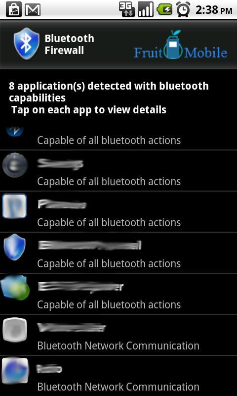 Bluetooth Firewall - screenshot