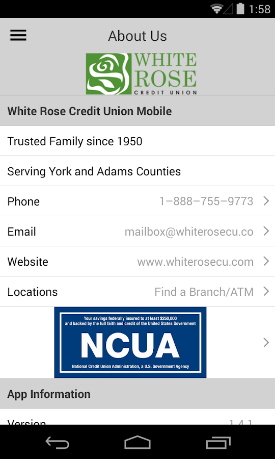White Rose Credit Union Mobile- screenshot