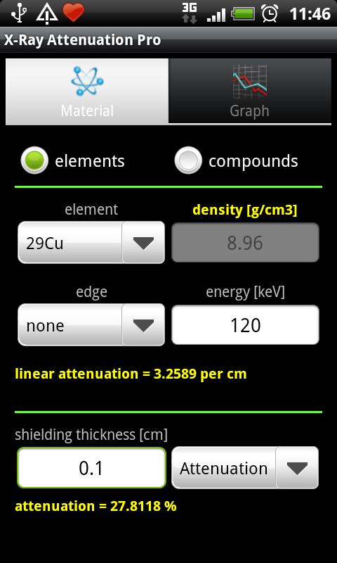 X-Ray Attenuation Calculator- screenshot