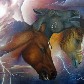 by Alicia McNally - Painting All Painting ( clouds, mustang, acrylic painting, native american lore )