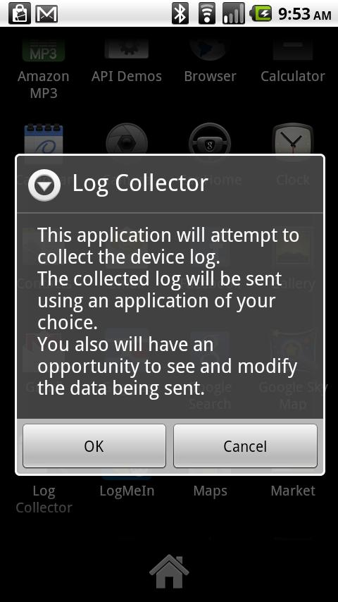 Log Collector: captura de pantalla