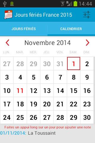 Calendrier jour férié France