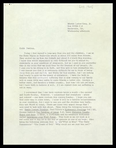Letter from MLK to Coretta Scott King