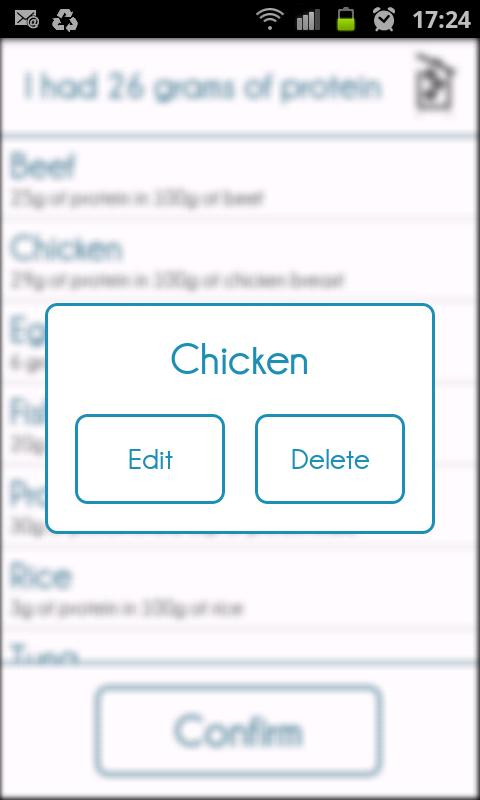 Protein Tracker- screenshot