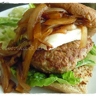 Hamburgers with Caramelized Onions and Goat Cheese.