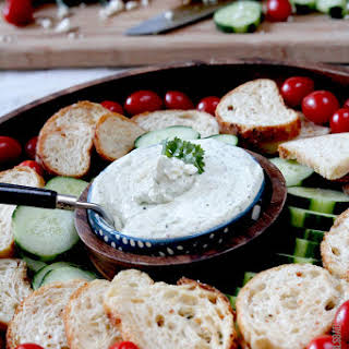 7 Minute Garlic Jalapeno Whipped Feta Dip or Spread.