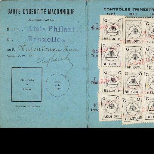 Henri La Fontaine's masonic identity card — Google Arts