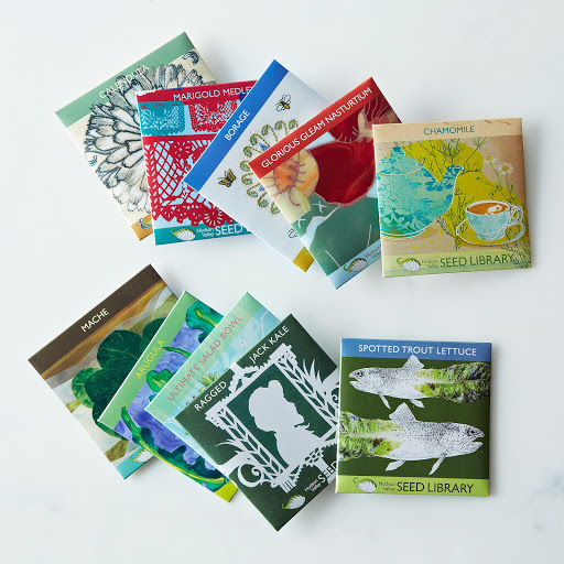 Heirloom Seed Art Packets, Greens & Edible Flowers (Set of 5)