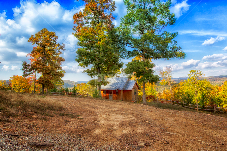 Cute Cabin by Michael Buffington - Landscapes Mountains & Hills ( clouds, cabin, orange, environment, red, sky, nature, wood, blue, yellow,  )