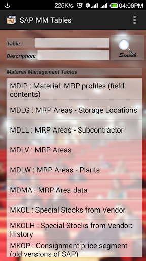 SAP MM Tables with Fields