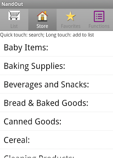 NandOut: Grocery List by Aisle