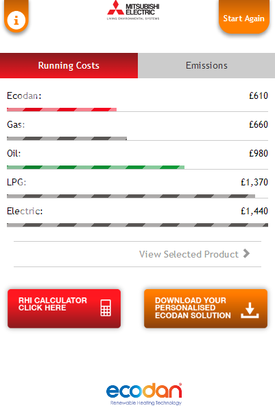 Ecodan Selection Tool- screenshot