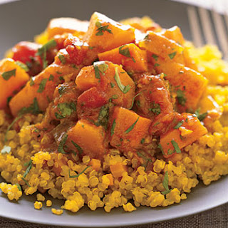 Quinoa with Moroccan Winter Squash and Carrot Stew.