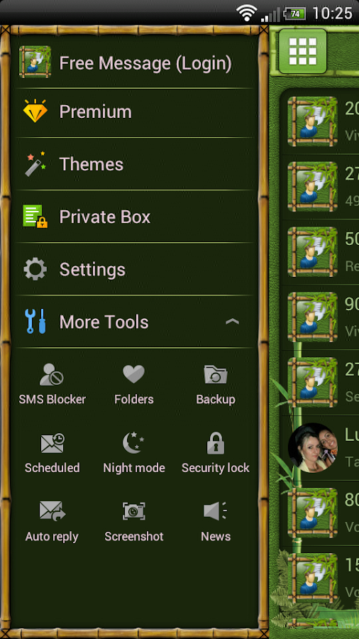 Bamboo GO SMS Theme- screenshot
