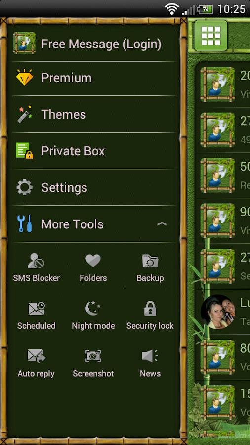 Bamboo GO SMS Theme - screenshot
