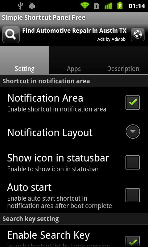 Simple Shortcut Panel Free - screenshot